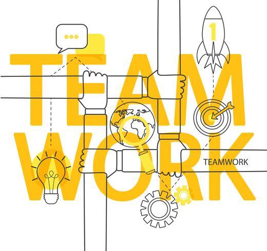 Infográfico do conceito de trabalho em equipe. vetor