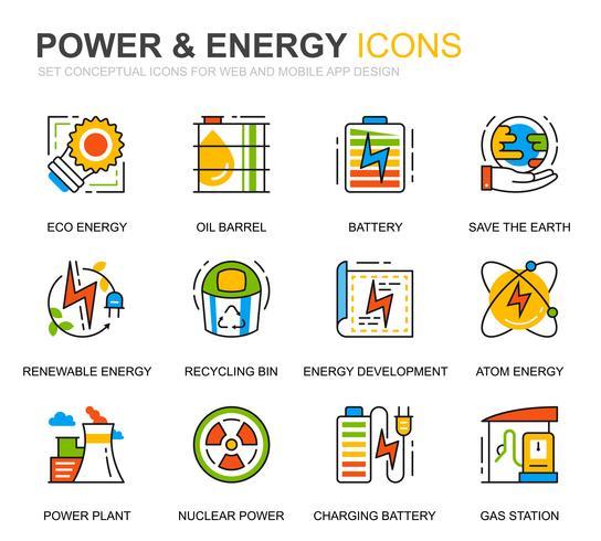 Conjunto simples de indústria de energia e ícones de linha de energia para o site e aplicativos móveis vetor