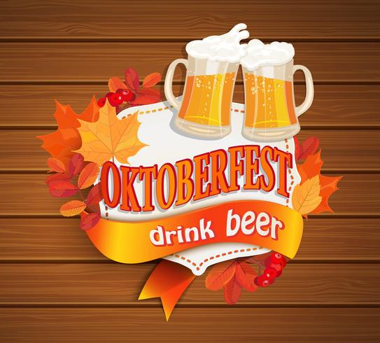 Quadro de Octoberfest vintage com cerveja. vetor