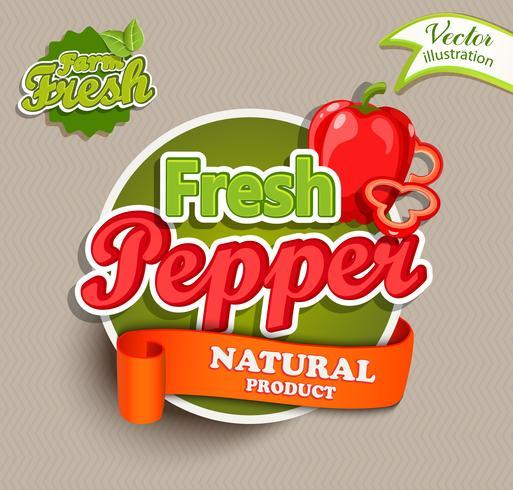 Rótulo de alimentos orgânicos - logotipo de pimenta fresca. vetor