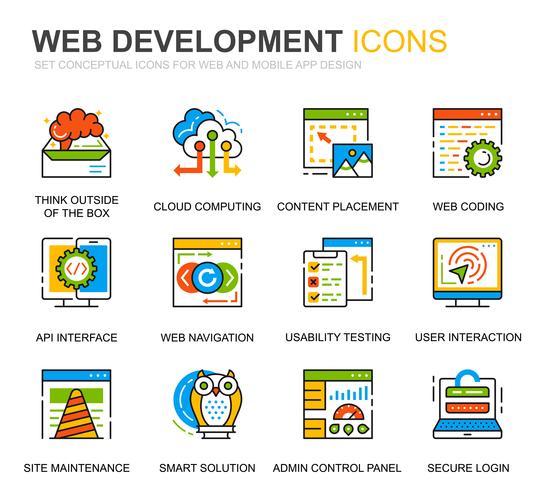 Conjunto simples Web Design e linha de desenvolvimento ícones para site e aplicativos móveis vetor