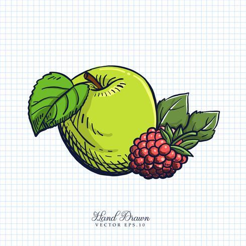 Mão desenhada frutas e vegetais ilustração vetor