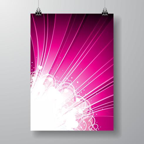 Ilustração do dia dos namorados no fundo violeta. vetor