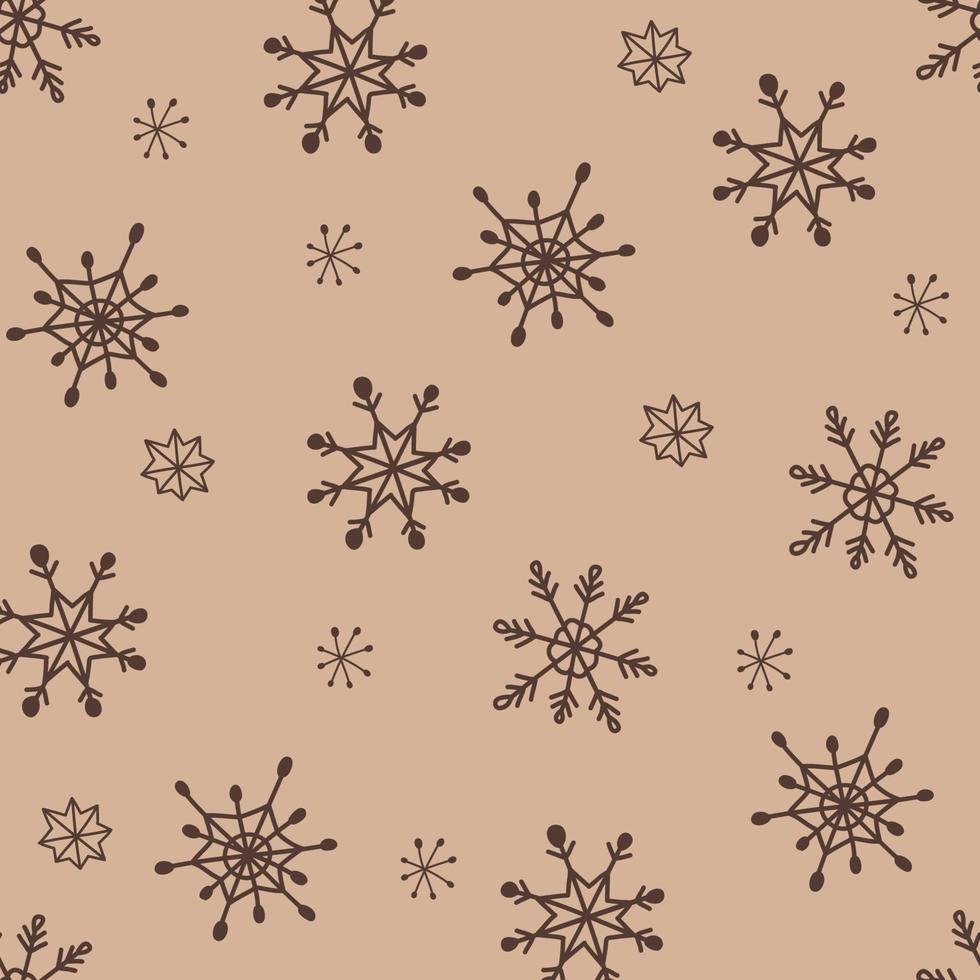 doodle estilo flocos de neve padrão sem emenda boho vetor