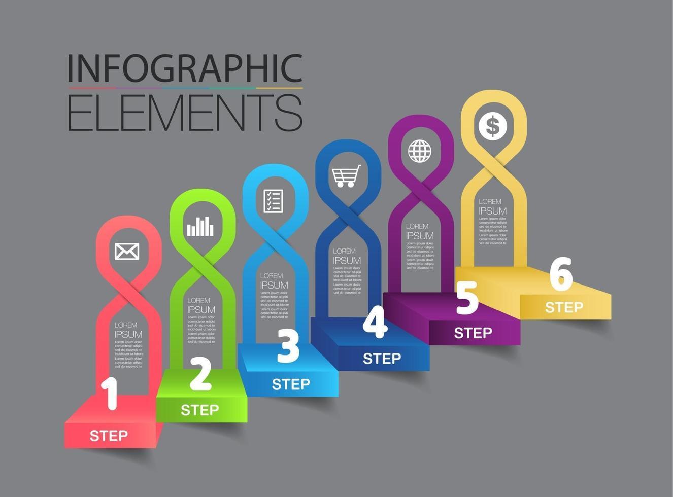 intensificar o conceito de sucesso empresarial. vetor de infográfico de escada
