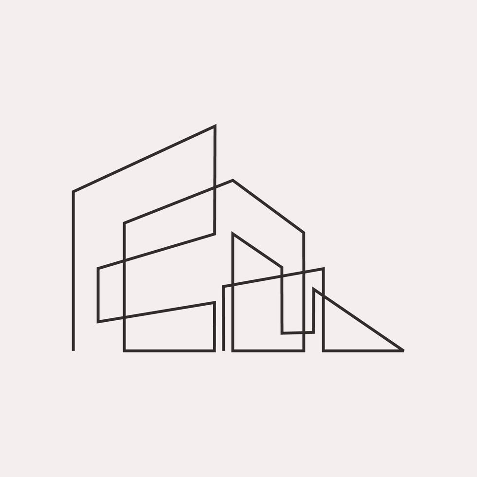 desenho de linha contínua de construção geométrica vetor