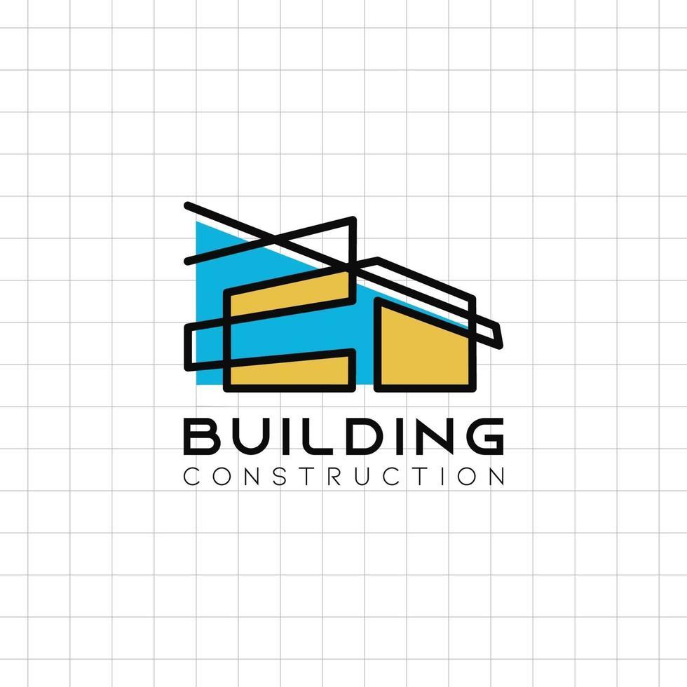 Ícone de logotipo de construção de edifício minimalista com design simples vetor