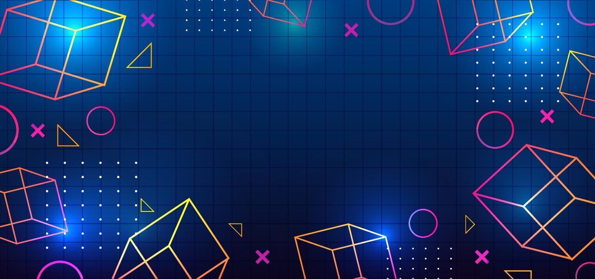 fundo moderno dos anos 80 memphis geométrico neon estilo brilhante vetor