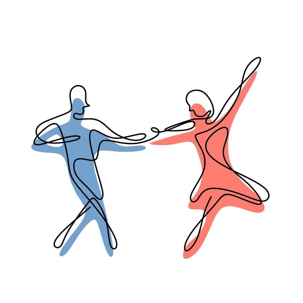 dançando desenho de linha contínua, casal desenhado à mão vetor