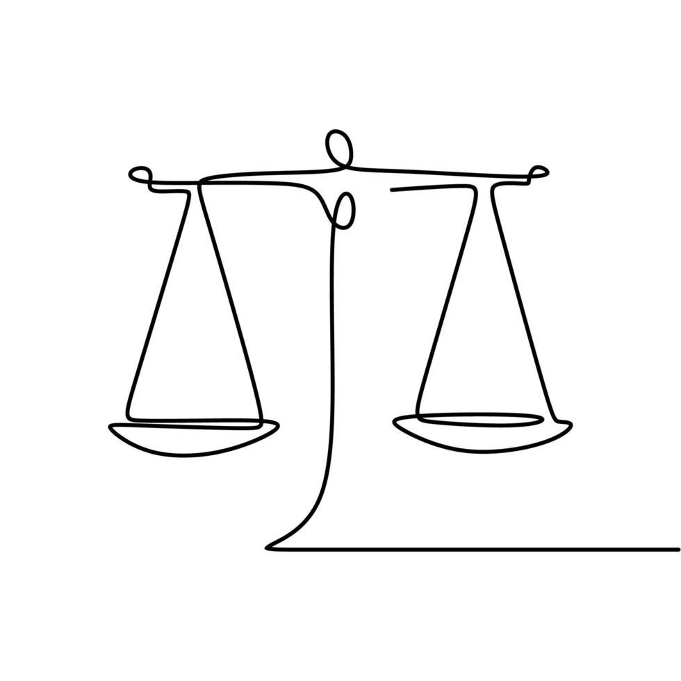 símbolo de equilíbrio de peso. libra ou identidade jurídica estilo de desenho de uma linha vetor