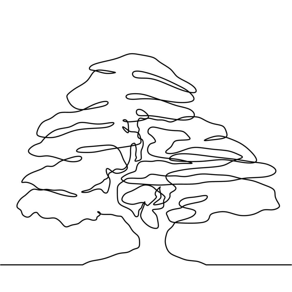 estilo de desenho de desenho de linha contínuo em árvore vetor