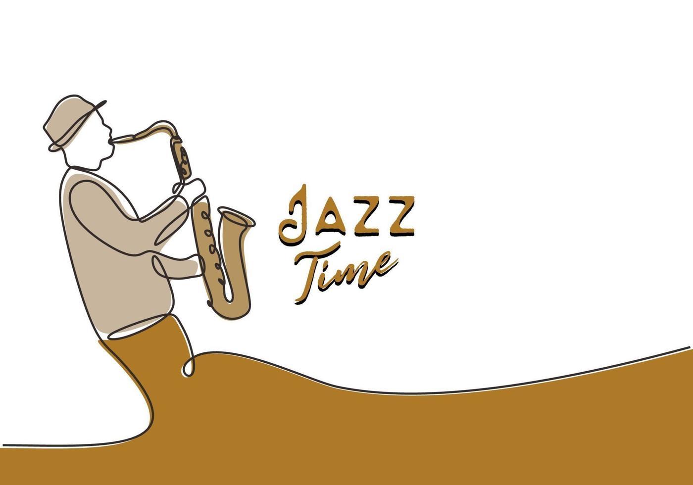 jazz time banner poster desenho de uma linha do saxofonista vetor