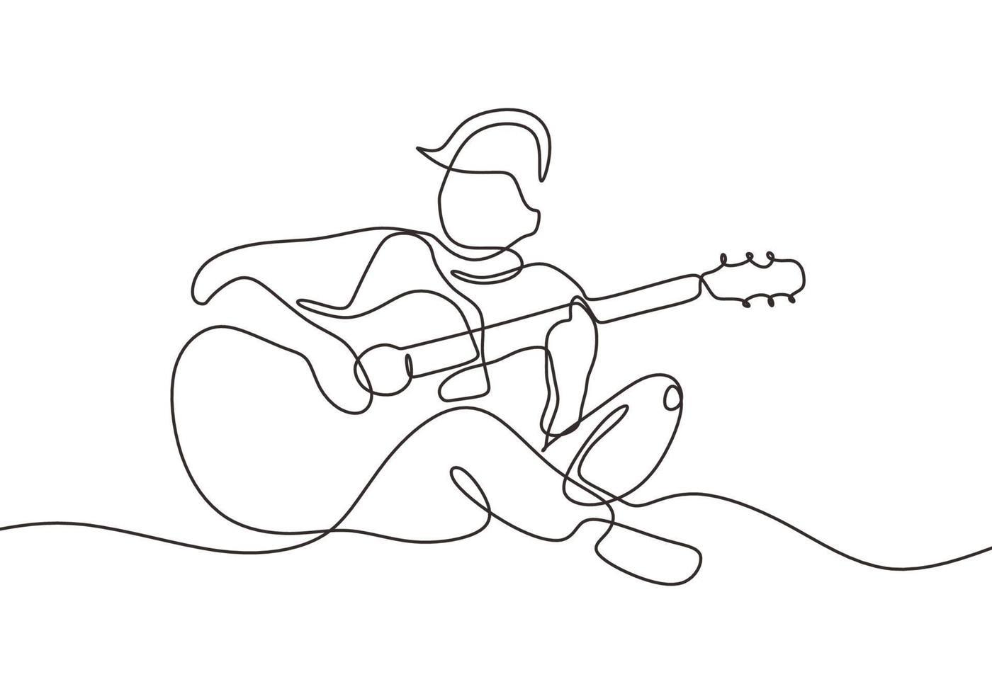 homem toca guitarra uma linha desenhando um instrumento acústico vetor