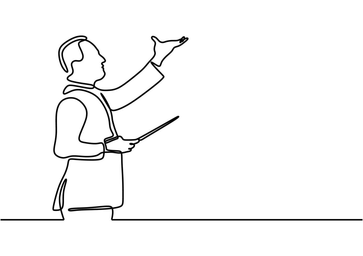 maestro, na música, uma pessoa conduz uma orquestra um desenho de linha vetor