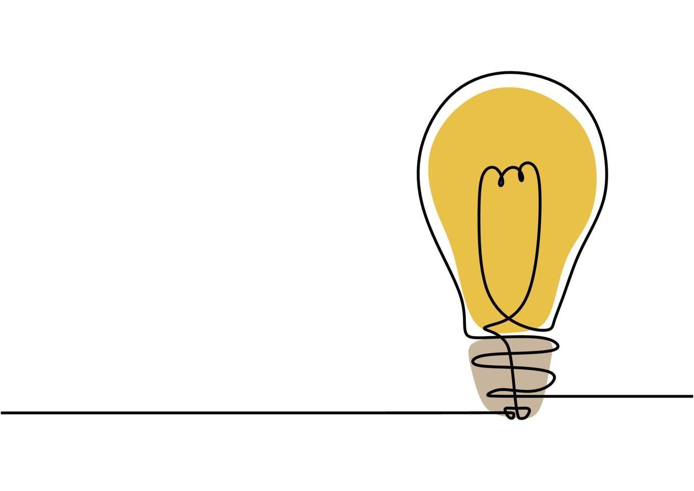 lâmpada, símbolo de desenho de uma linha de criatividade vetor
