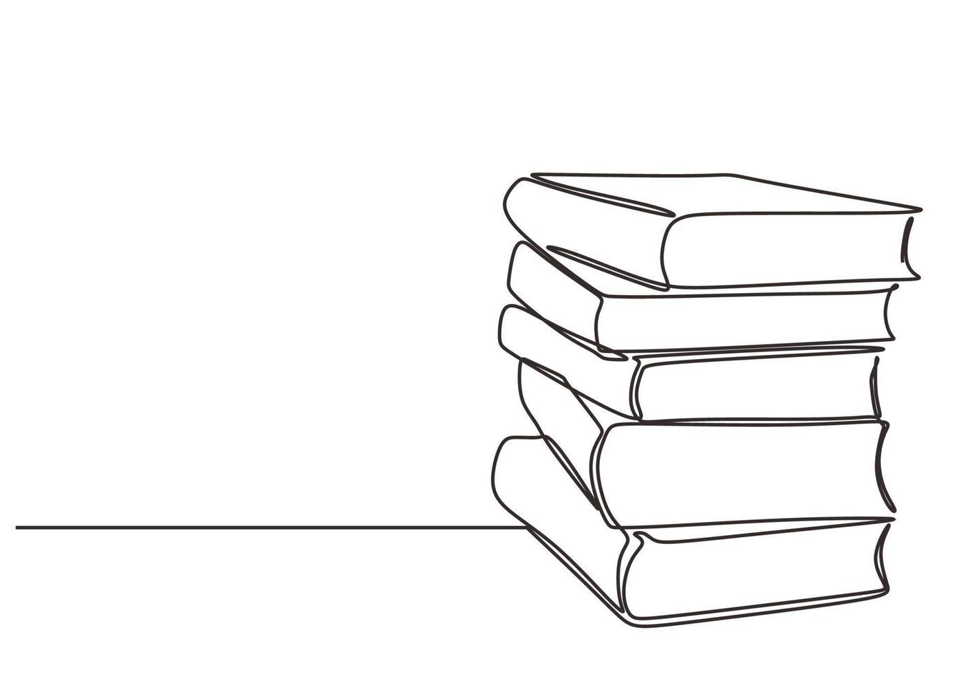 pilha de livro com desenho de linha contínua desenhado à mão minimalista vetor