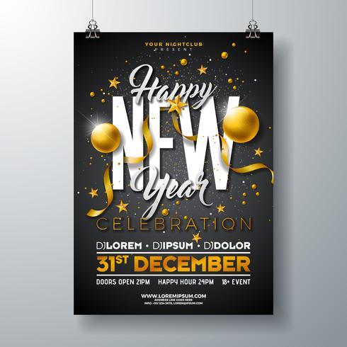 Feliz ano novo festa ilustração de celebração vetor