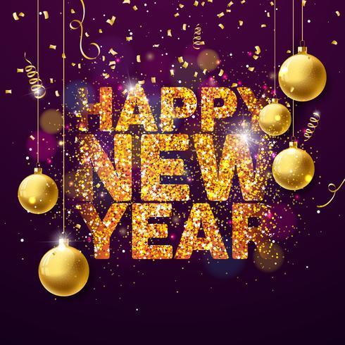 Ilustração do ano novo feliz 2018 do vetor com projeto brilhante dourado brilhante da tipografia e bolas decorativas no fundo dos confetes. EPS 10
