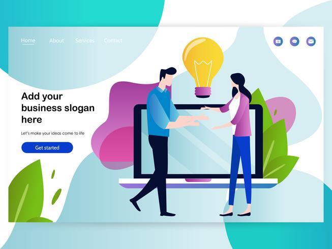 Modelo de design de página da Web para reuniões de negócios e brainstorming vetor