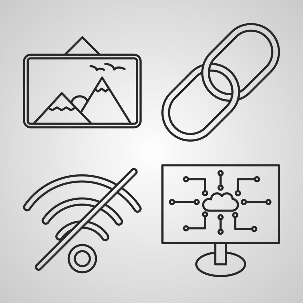 conjunto de ícones de linha de vetor de seo