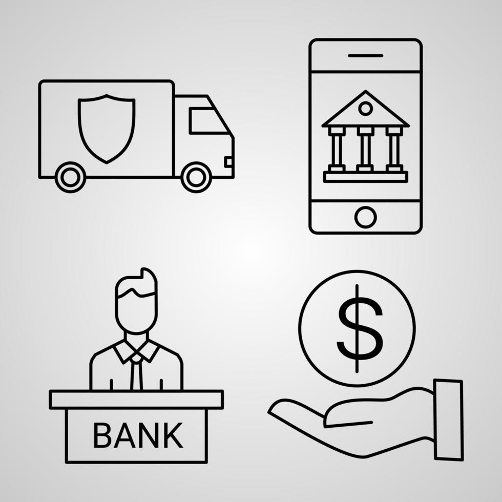 coleção de símbolos bancários em estilo de contorno vetor