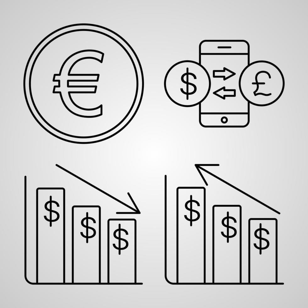 conjunto simples de ícones de linha de vetor bancário