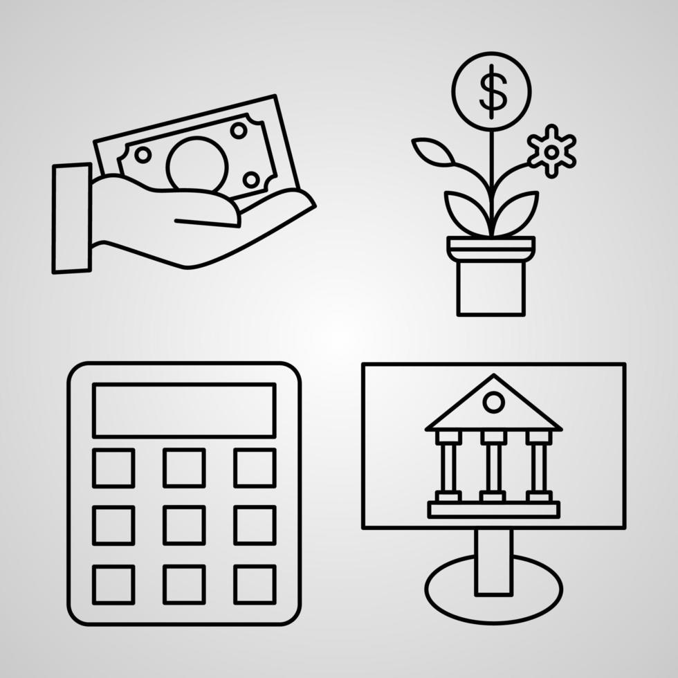 coleção de símbolos bancários em fundo branco ícones de contorno bancário vetor
