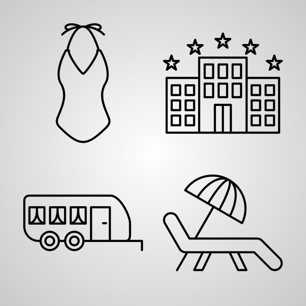 conjunto de ícones de viagem conjunto de ilustração vetorial eps vetor