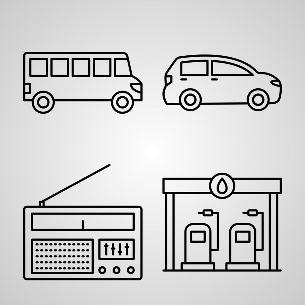 conjunto de ícones de design plano de linhas finas de viagens vetor