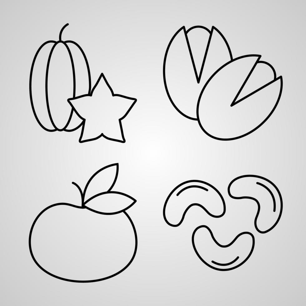 conjunto de ilustração vetorial de ícones de frutas isolado no fundo branco vetor