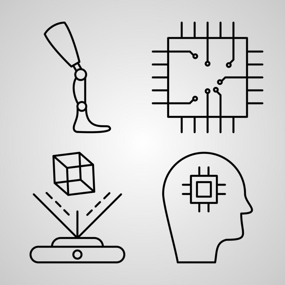 conjunto de ícones vetoriais de cyberpunk vetor