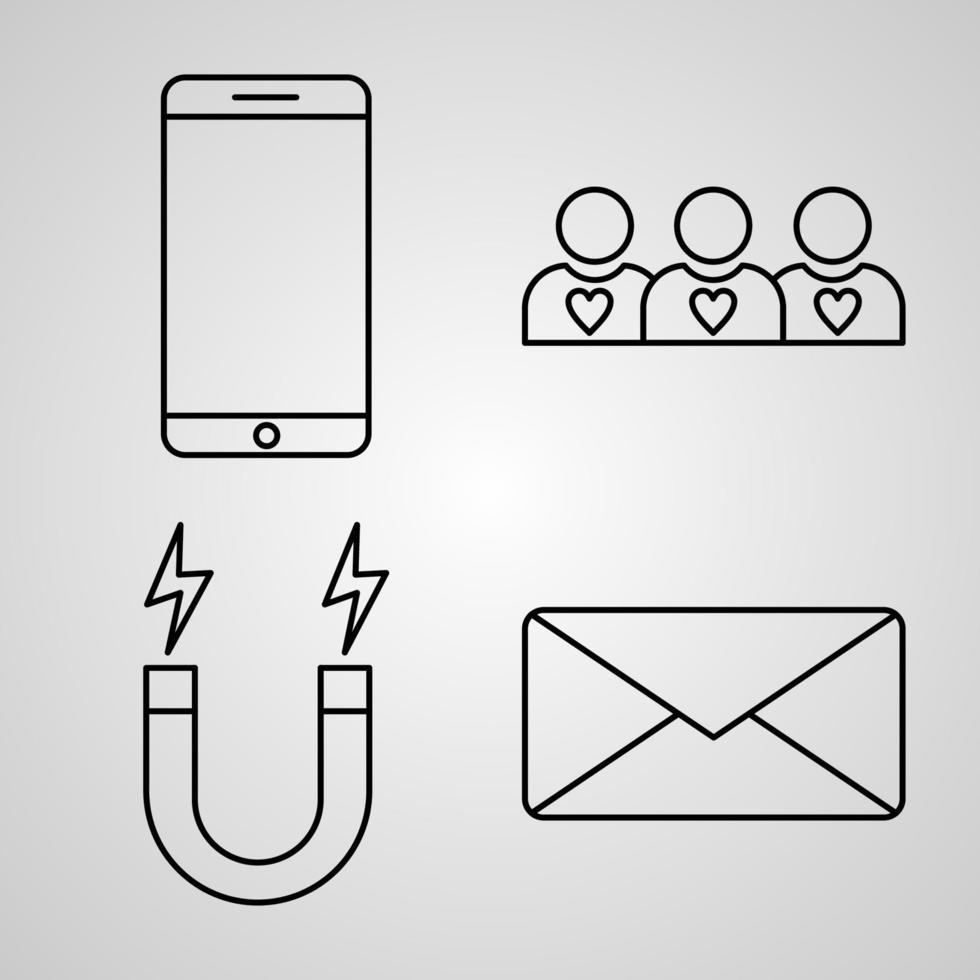 conjunto de ícones de design plano de linha fina de marketing vetor