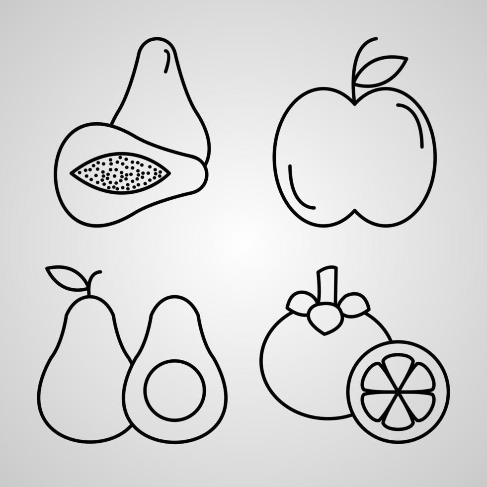 delinear ícones de frutas isolados no fundo branco vetor