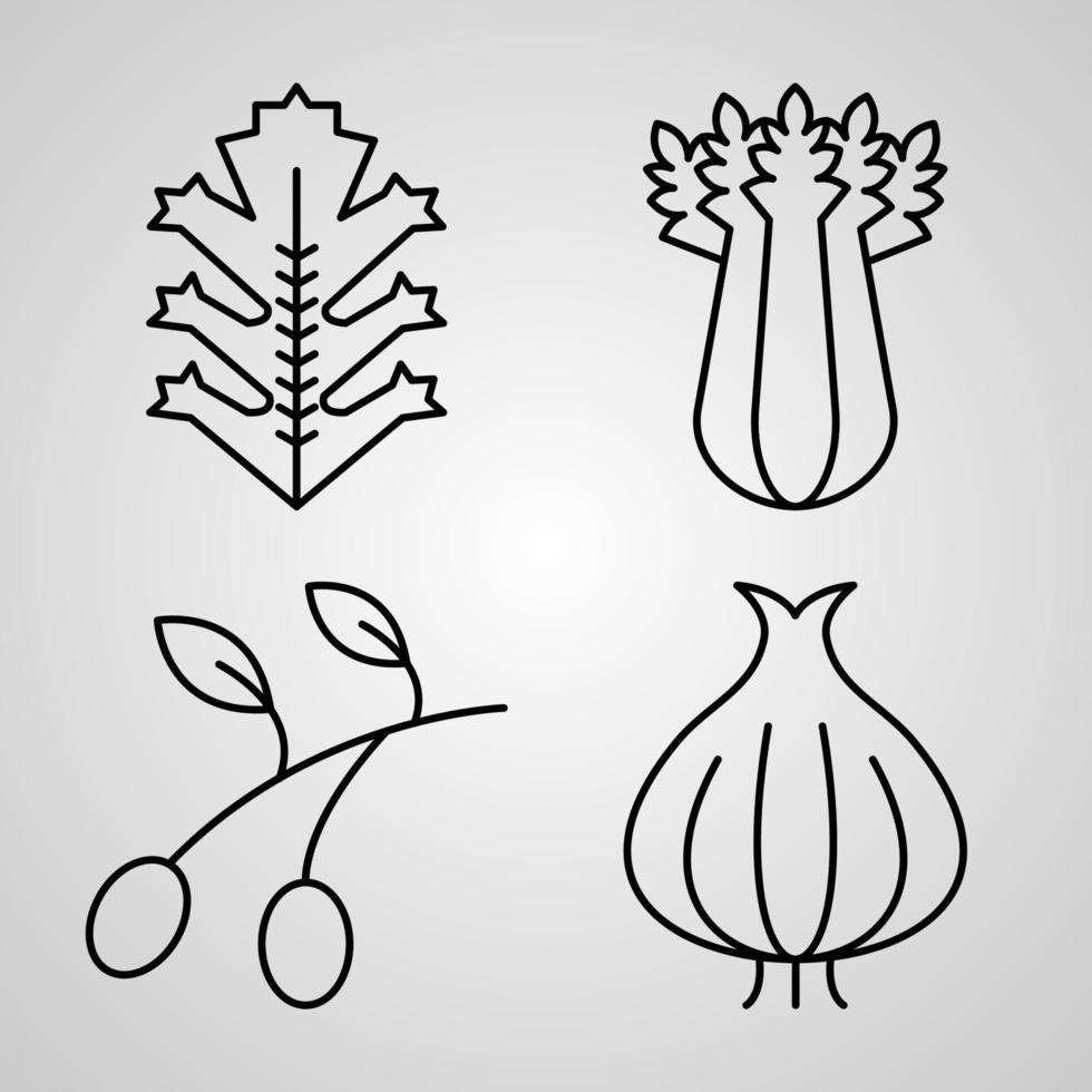 conjunto de ícones simples de ícones de linha relacionada a vegetais vetor