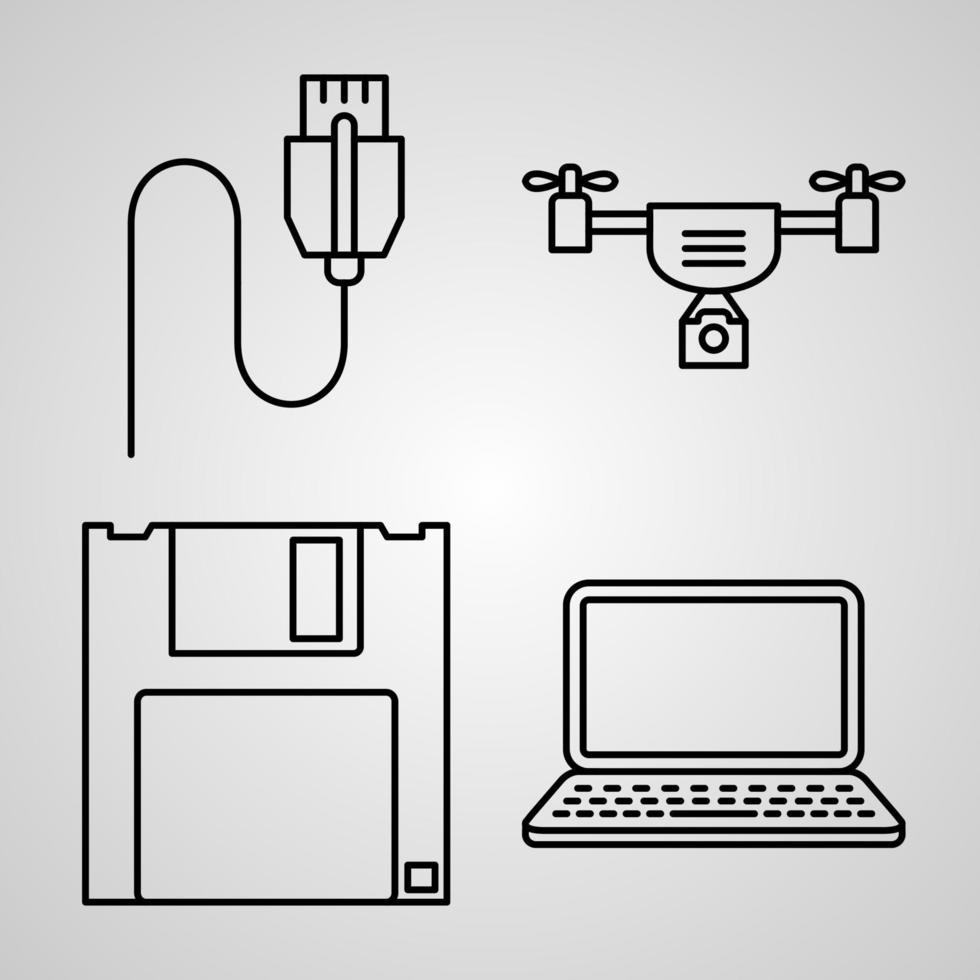 coleção de símbolos cyberpunk em estilo de contorno vetor