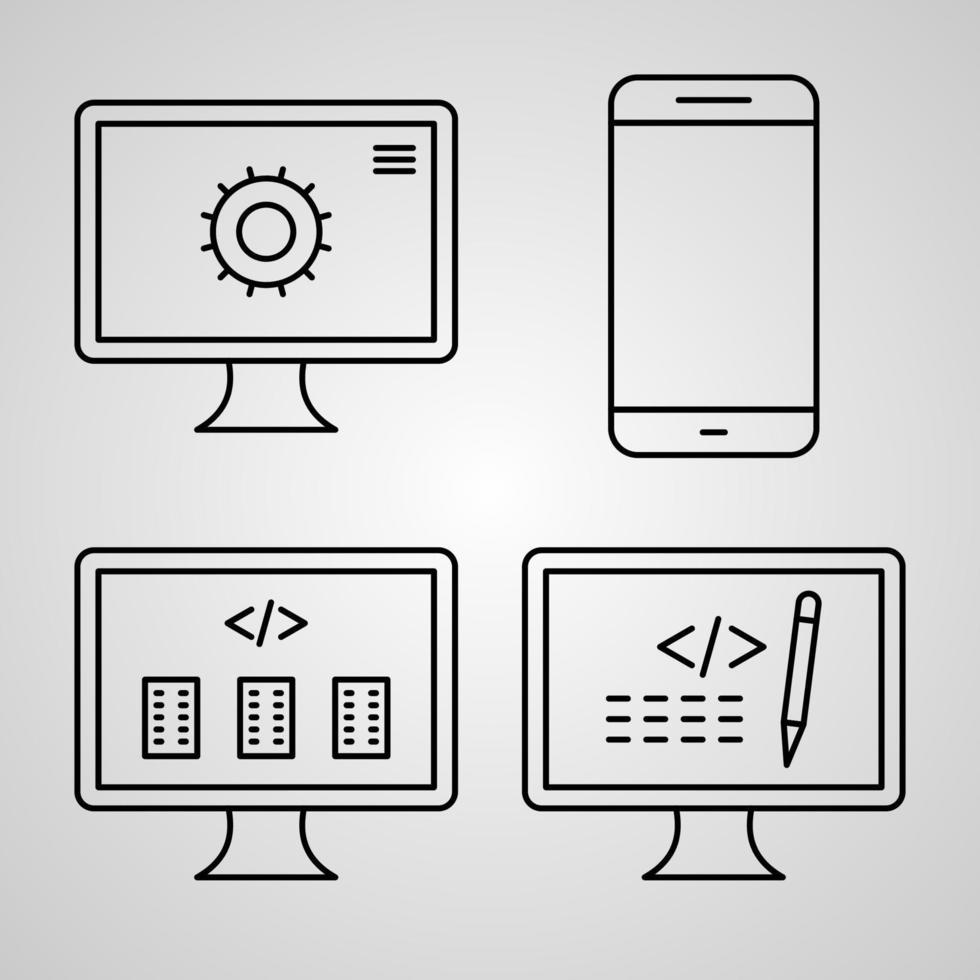 ícones de programação de computador conjunto de símbolos programação de computador vetor