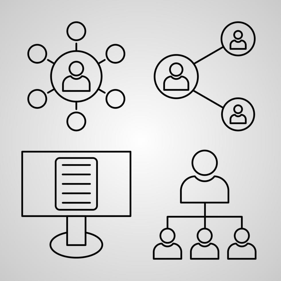 conjunto de ilustração de ícones de marketing isolado no fundo branco vetor