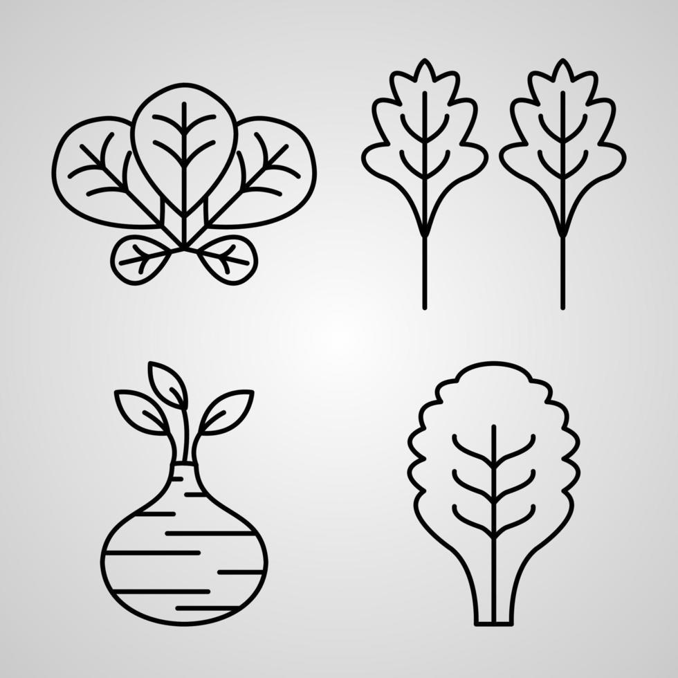 coleção de símbolos vegetais em estilo de contorno vetor