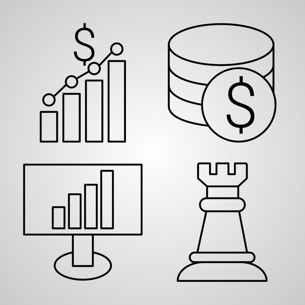 conjunto de ícones de linha de marketing isolado em símbolos de contorno branco marketing vetor