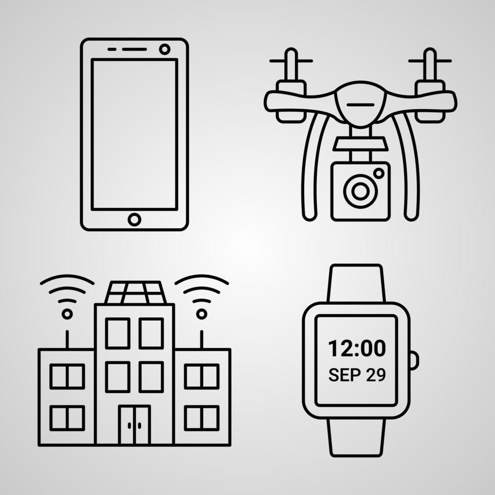 conjunto de ícones simples de ícones de linha relacionados à tecnologia vetor