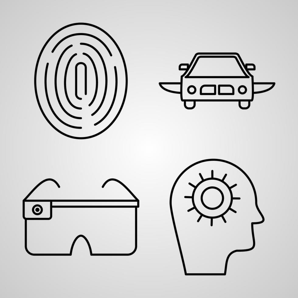 conjunto de ícones de design plano de linha fina de cyberpunk vetor