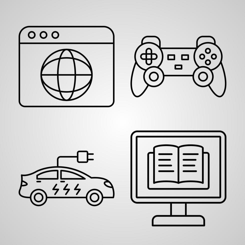 conjunto de ícones de linha de tecnologia coleção de estilo de contorno moderno vetor