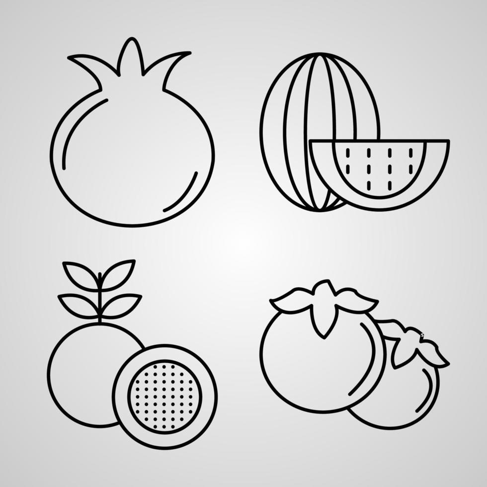 conjunto de ícones de frutas ilustração vetorial eps vetor
