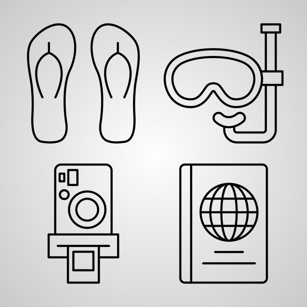 coleção de símbolos de viagem em ícones de viagens de fundo branco vetor