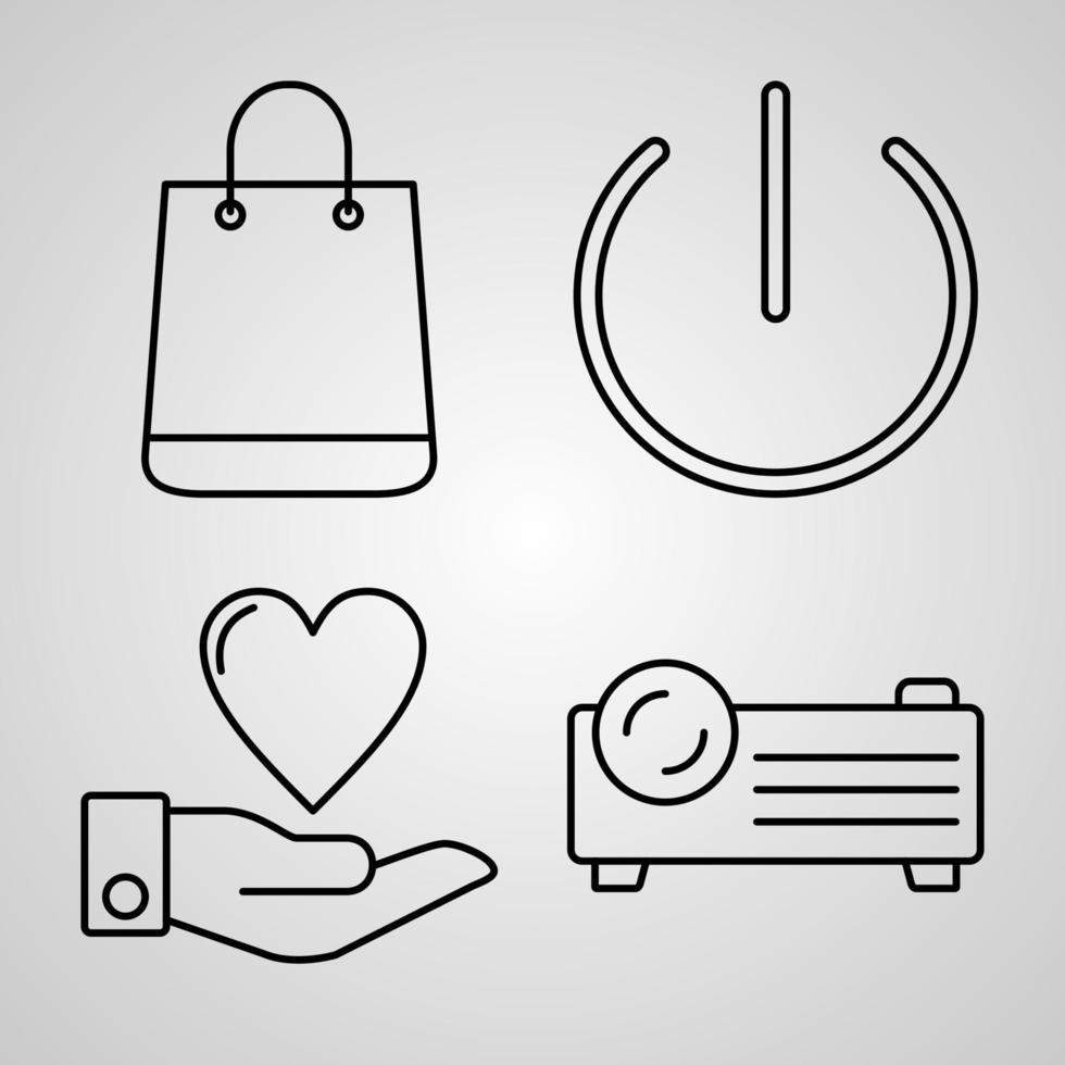 conjunto de ícones simples de ícones de linha relacionados a multimídia vetor