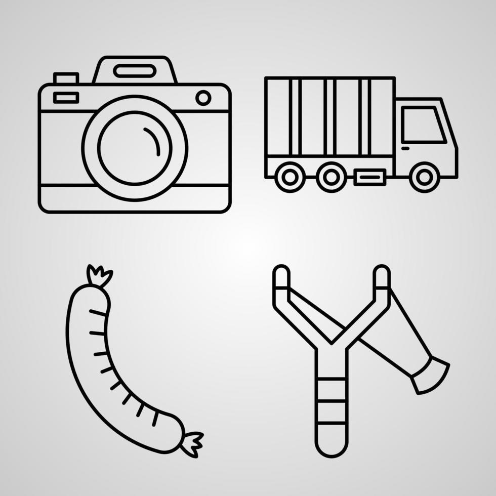 coleção de símbolos de acampamento em fundo branco ícones de contorno de acampamento vetor