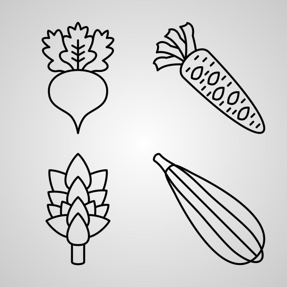 conjunto de ícones vegetais ilustração vetorial eps vetor
