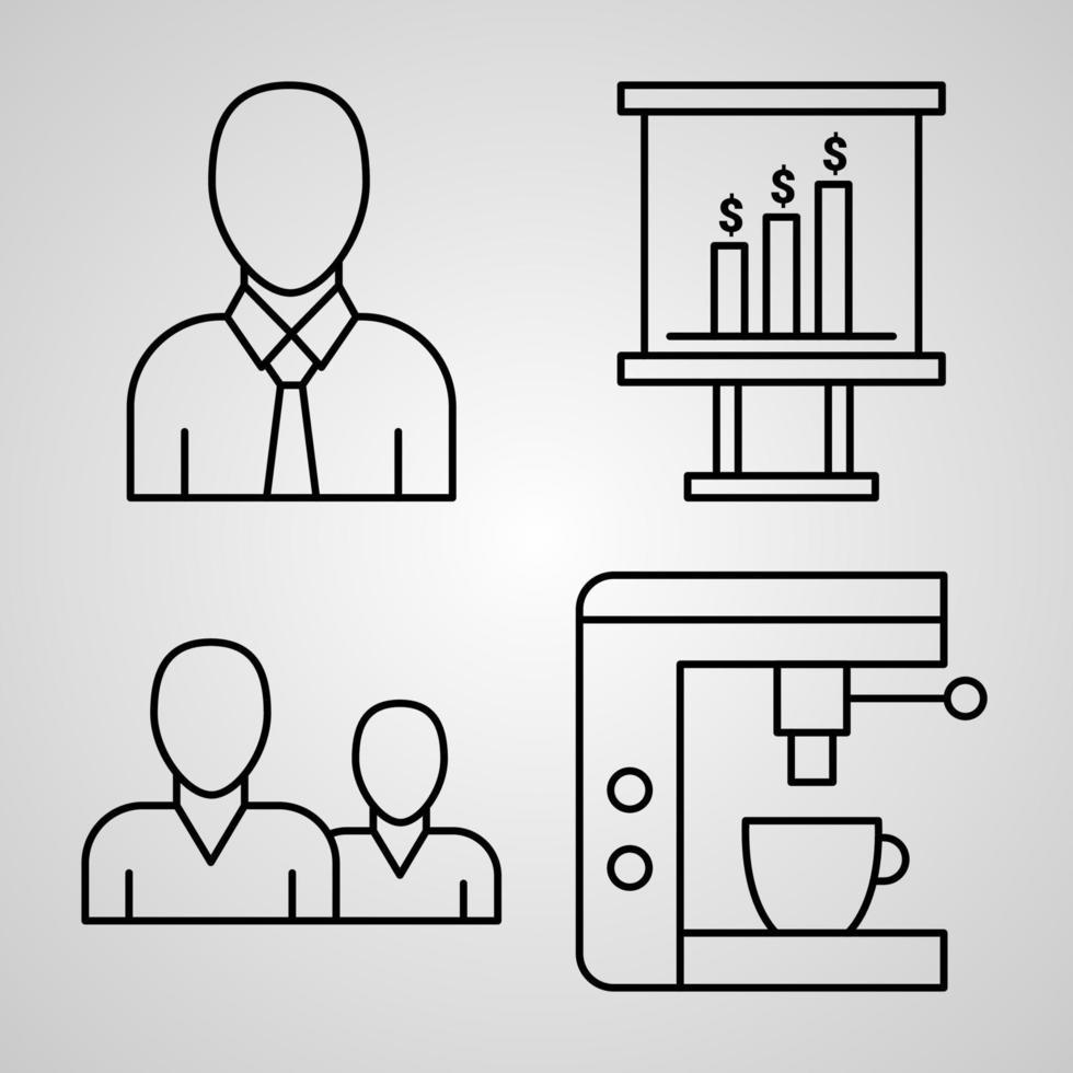 conjunto simples de ícones de linha de vetor de escritório