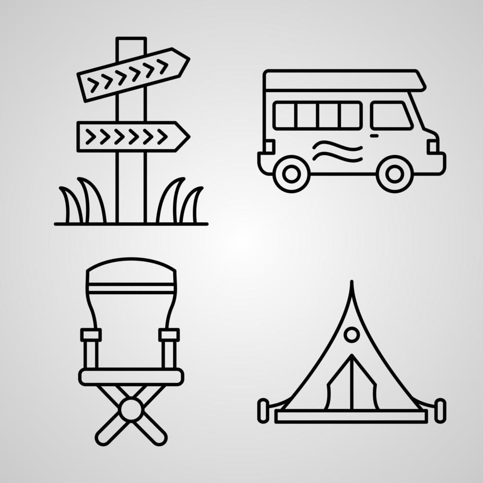 coleção de ícones de acampamento com fundo branco vetor