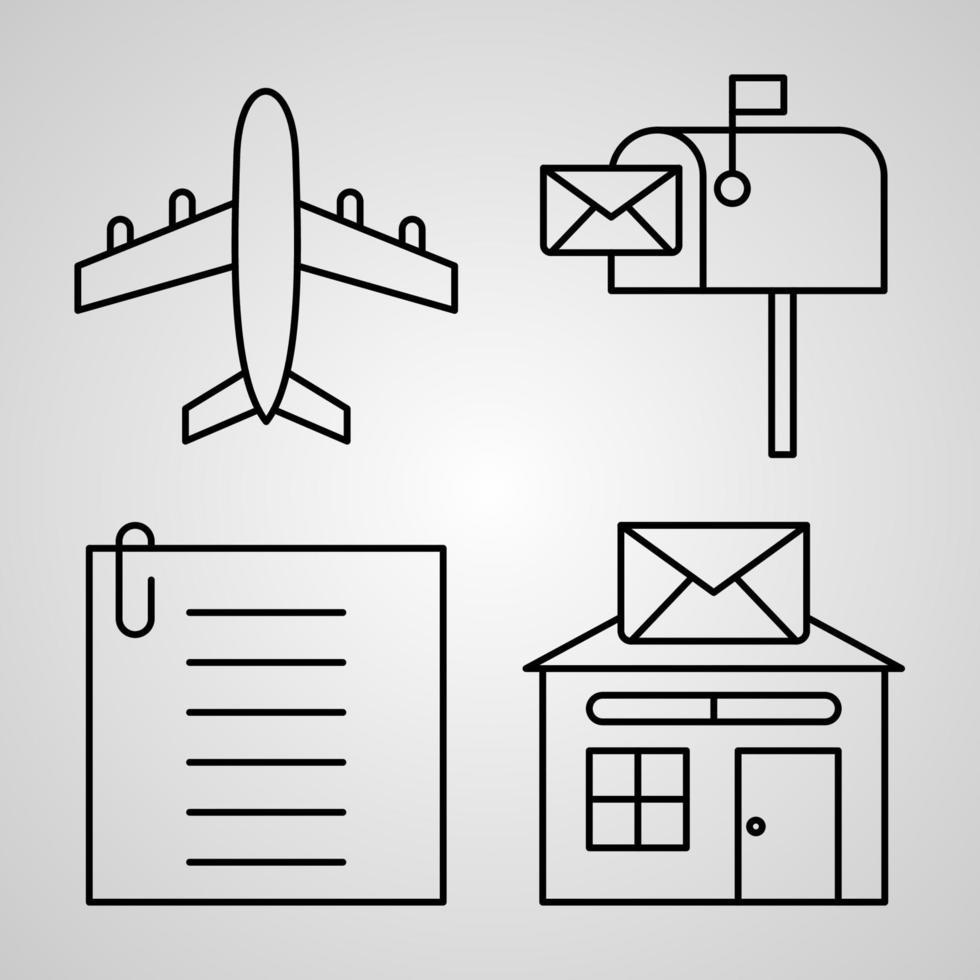 conjunto simples de ícones de linha de vetor de correios